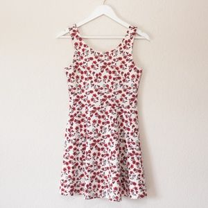 H&M Divided Red and White Floral Dress